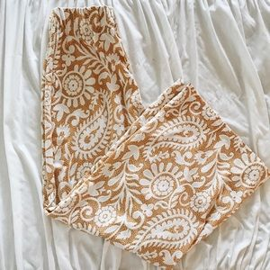Pants - Yellow Patterned Pull on Pants